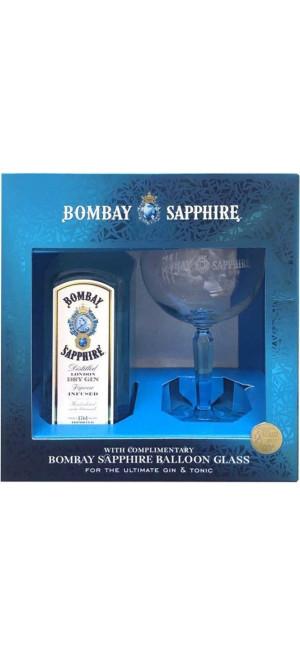 """Джин """"Bombay Sapphire"""", gift box with glass, 0.7 л"""