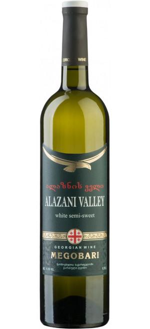 """Вино """"Мегобари"""" Алазанская Долина Белое полусладкое, 0.75 л"""