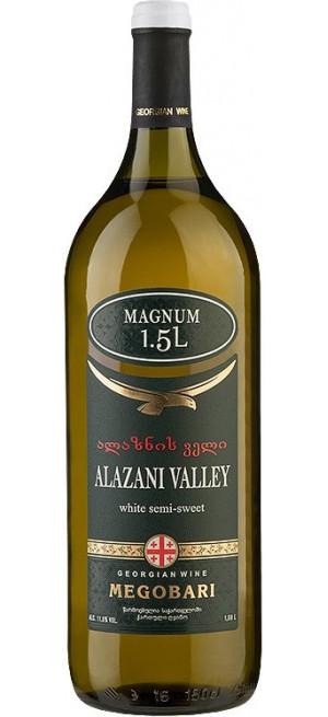 """Вино """"Мегобари"""" Алазанская Долина Белое полусладкое, 1.5 л"""