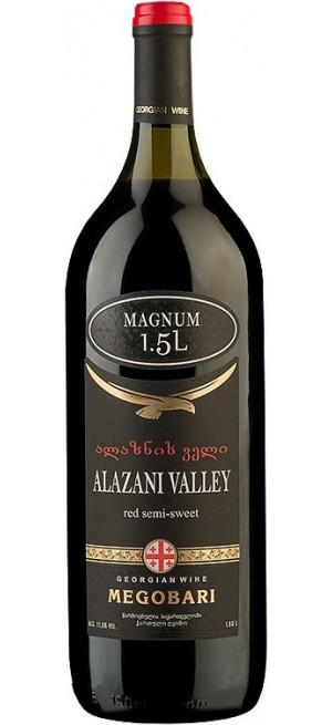 """Вино """"Мегобари"""" Алазанская Долина Красное полусладкое, 1.5 л"""