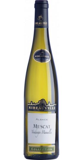 """Вино Cave de Ribeauville, Muscat """"Vendanges Manuelles"""", Alsace AOC, 2018, 0.75 л"""