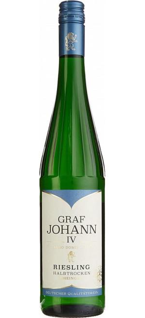 "Вино ""Graf Johann IV"" Riesling Halbtrocken, Rheingau, 2017, 0.75 л"