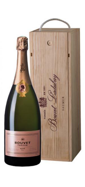 """Игристое вино Bouvet Ladubay, """"Tresor"""" Rose Brut, Saumur AOC, wooden box, 1.5 л"""